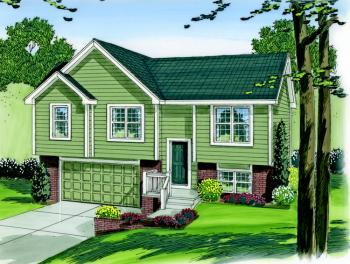 Split foyer plan 1 096 square feet 3 bedrooms 2 for Split foyer house designs