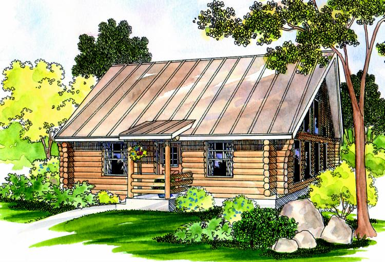 Log plan 960 square feet 1 bedroom 1 bathroom 035 00244 for Square log cabin plans