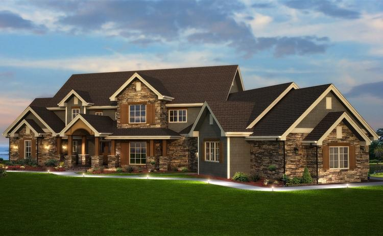 Craftsman Plan: 6,837 Square Feet, 6 Bedrooms, 5 Bathrooms - 5631 ...