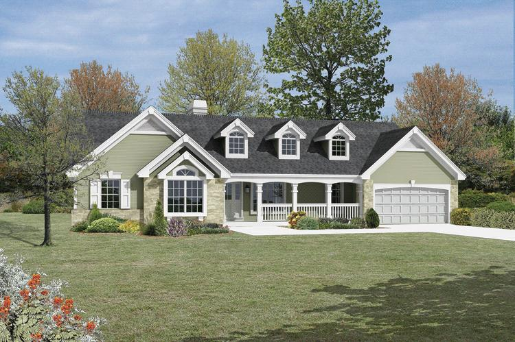 Traditional plan 1 532 square feet 3 bedrooms 2 for Reverse one and a half story house plans