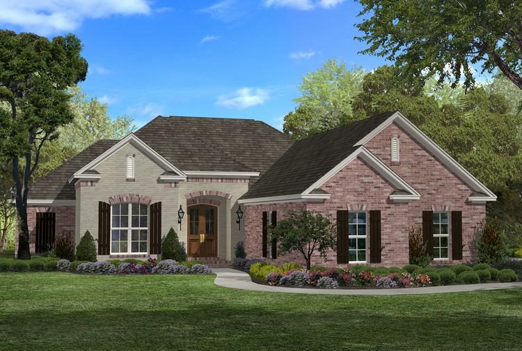 French country plan 1 800 square feet 3 bedrooms 2 5 for One story 1800 sq ft house plans