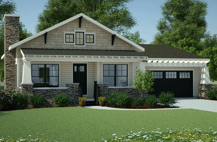 Bungalow plan 1 378 square feet 3 bedrooms 2 bathrooms for Average cost to build a craftsman style home