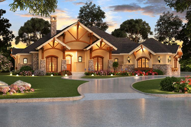 Craftsman plan 3 584 square feet 4 bedrooms 4 bathrooms for Luxury single story home designs