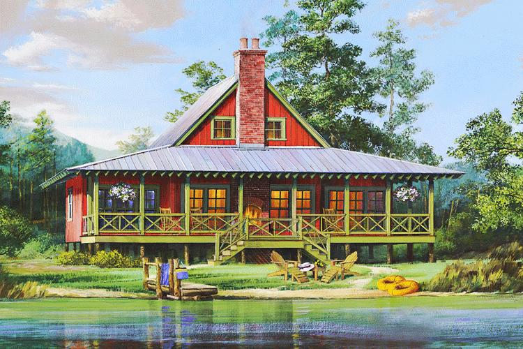Lake front plan 1 665 square feet 2 bedrooms 2 for Lake front house plans