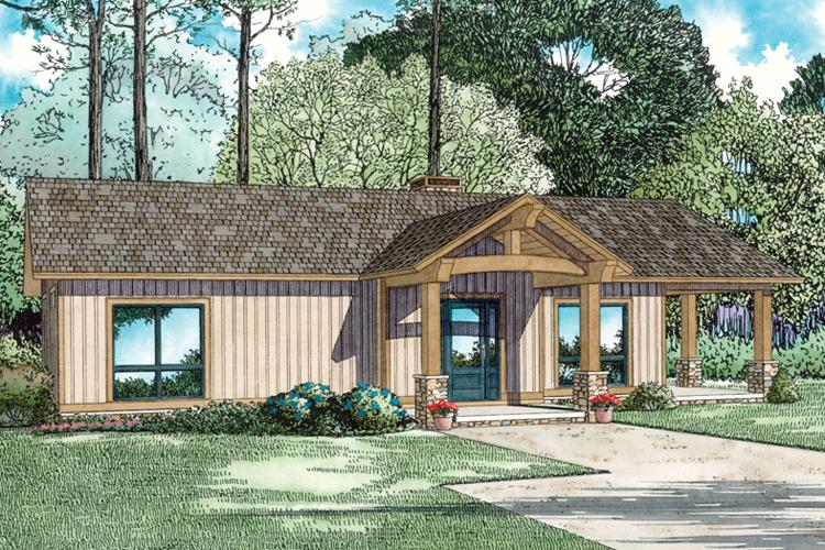 2 Bed, 1 Bath, 1128 Square Foot House Plan - #110-01036