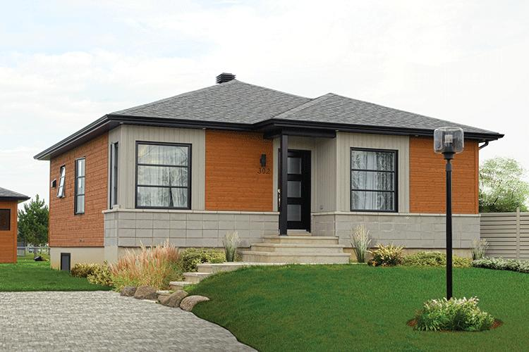 Narrow lot plan 962 square feet 2 bedrooms 1 bathroom for Modern bungalow design concept