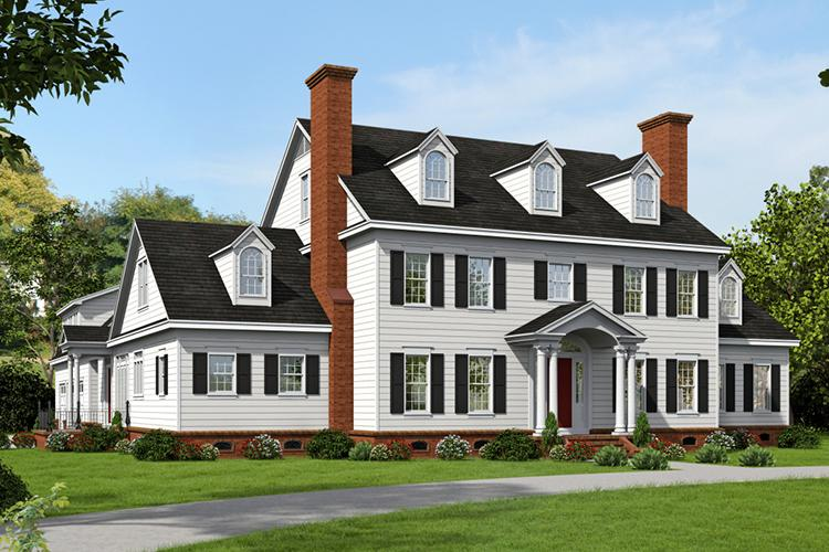 Colonial plan 6 858 square feet 6 bedrooms 4 5 for House plans colonial style homes