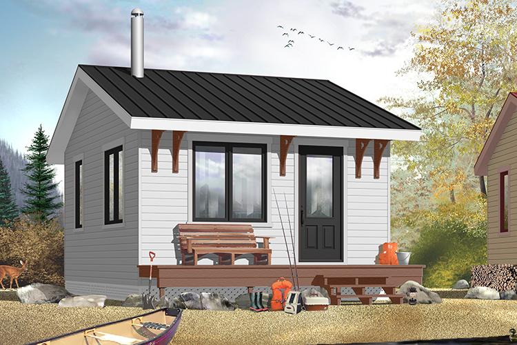 House Plan 034-00174 - Small Plan: 320 Square Feet, 1 Bedroom, 1 Bathroom