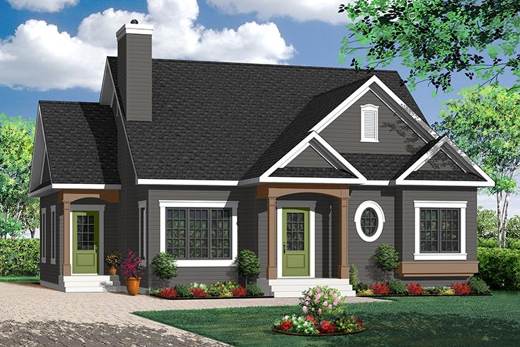 2 Bed, 1 Bath, 1359 Square Foot House Plan - #034-00186