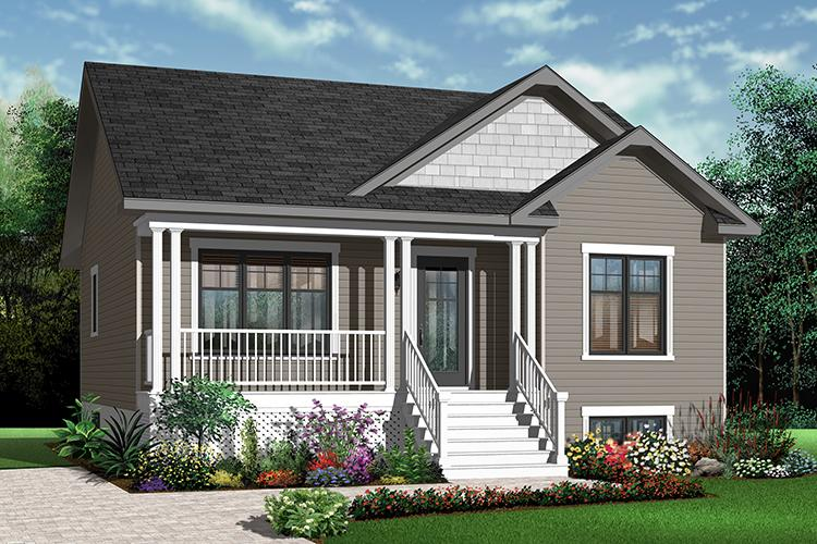 2 Bed, 1 Bath, 911 Square Foot House Plan - #034-00191