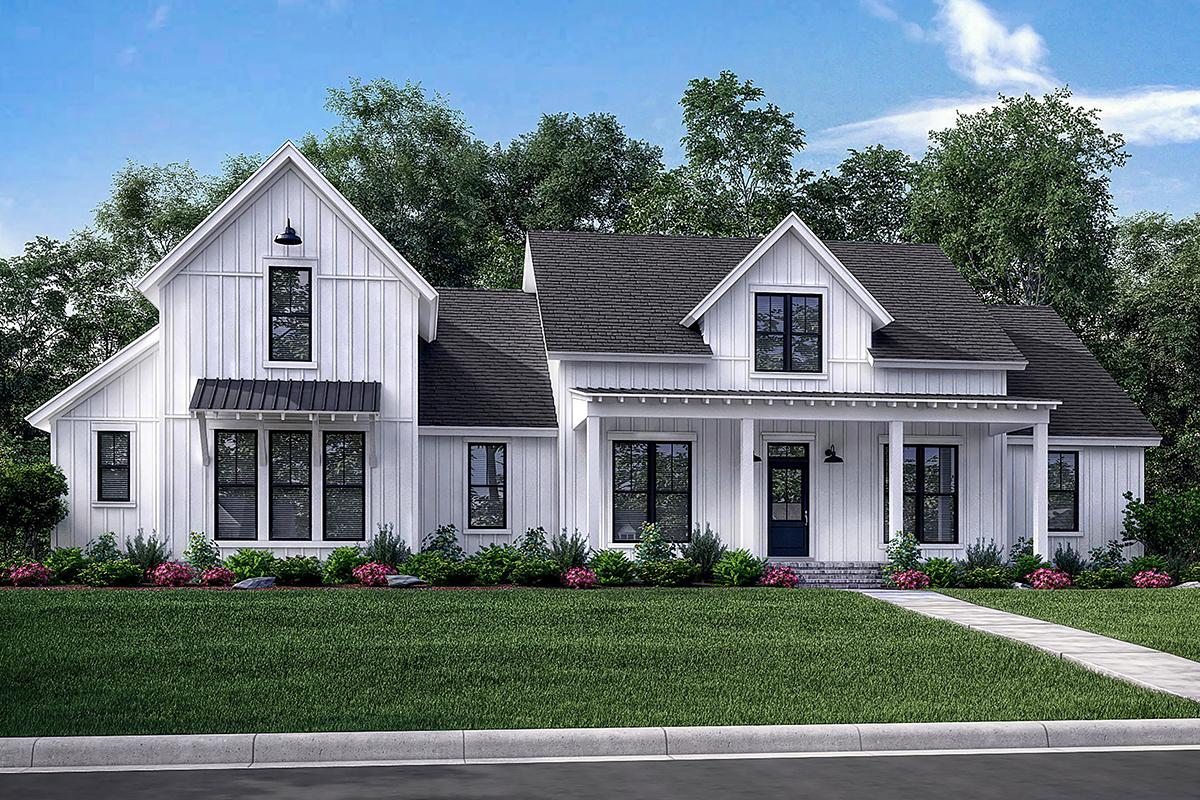 Modern farmhouse plan 2 742 square feet 4 bedrooms 3 5 for 1 story farmhouse floor plans