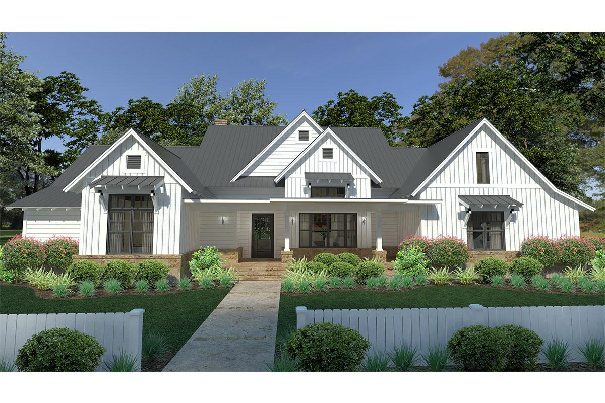 Modern farmhouse plan 2 393 square feet 3 bedrooms 2 5 for One floor farmhouse plans