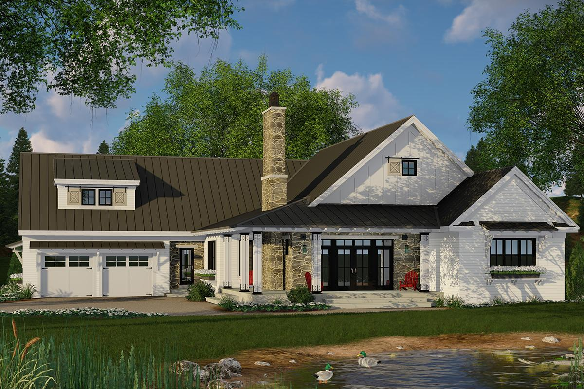 Modern farmhouse plan 2 241 square feet 3 bedrooms 2 5 for Floor plans for modern farmhouses