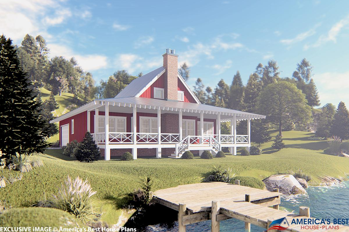 lakefront cottage plans with green grass   Lake Front Plan: 1,665 Square Feet, 2 Bedrooms, 2 ...