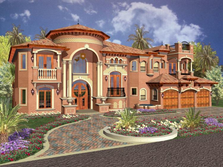 Florida Plan: 6,664 Square Feet, 6 Bedrooms, 6.5 Bathrooms - 168-00088