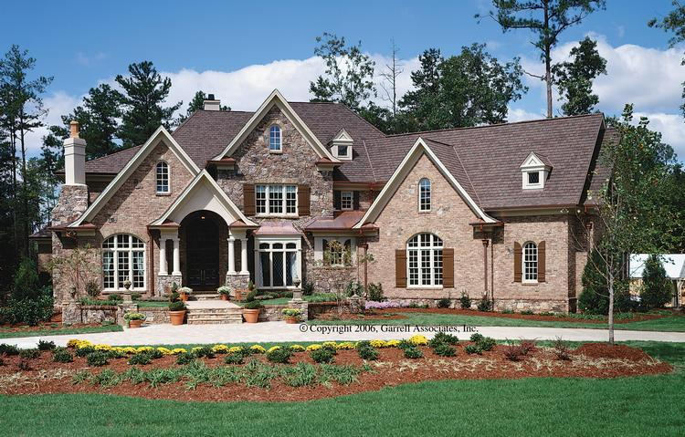 French country plan 4 376 square feet 4 bedrooms 4 5 for Stone house floor plans