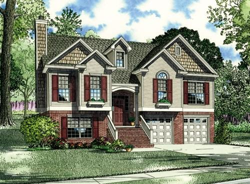 European plan 1 596 square feet 3 bedrooms 3 bathrooms for Side split house designs