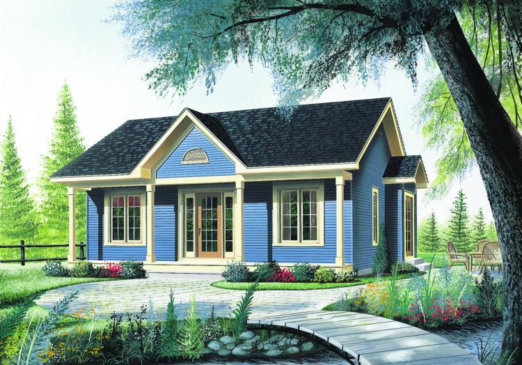 Bungalow Plan: 910 Square Feet, 2 Bedrooms, 1 Bathroom - 034-00113