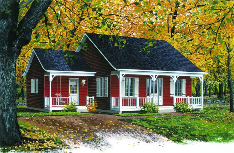 Country Plan: 946 Square Feet, 2 Bedrooms, 1 Bathroom - 034-00116
