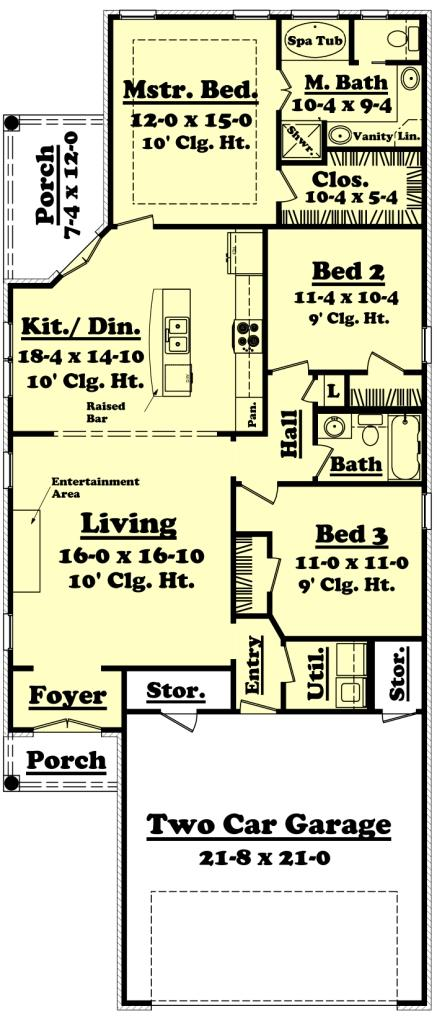 Narrow lot plan 1 400 square feet 3 bedrooms 2 for House plans 3 car garage narrow lot