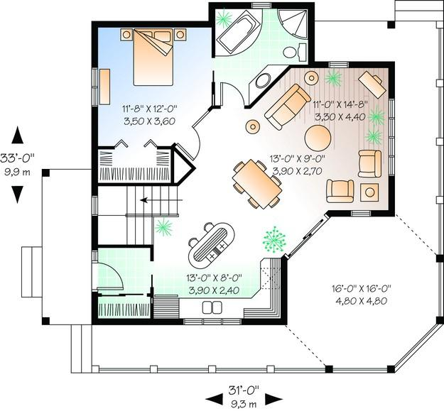 Vacation plan 840 square feet 1 bedroom 1 bathroom for 840 square feet