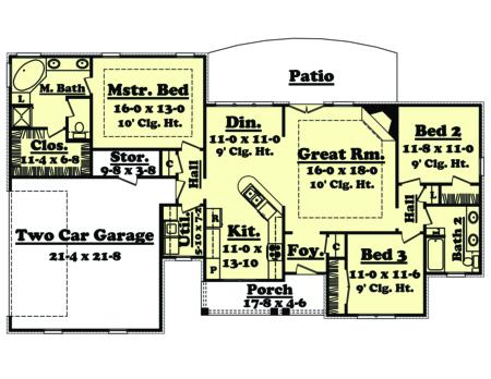 Ranch plan 1 600 square feet 3 bedrooms 2 bathrooms for 1600 square foot ranch house plans