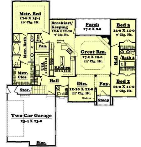 European plan 2 300 square feet 3 bedrooms 2 5 for 2300 square foot house plans