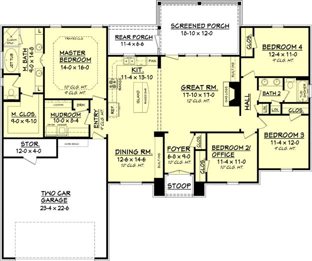 European plan 2 000 square feet 4 bedrooms 2 bathrooms for House plan printing