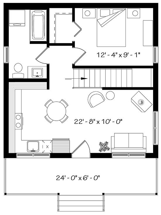 Cottage plan 576 square feet 1 bedroom 1 bathroom 034 for 576 sq ft floor plan