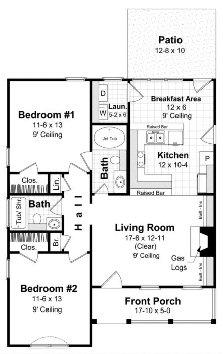 Traditional plan 1 000 square feet 2 bedrooms 2 for Bathroom remodel 70 square feet