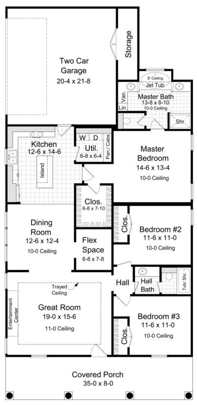 Narrow lot plan 1 650 square feet 3 bedrooms 2 for Narrow bathroom floor plans