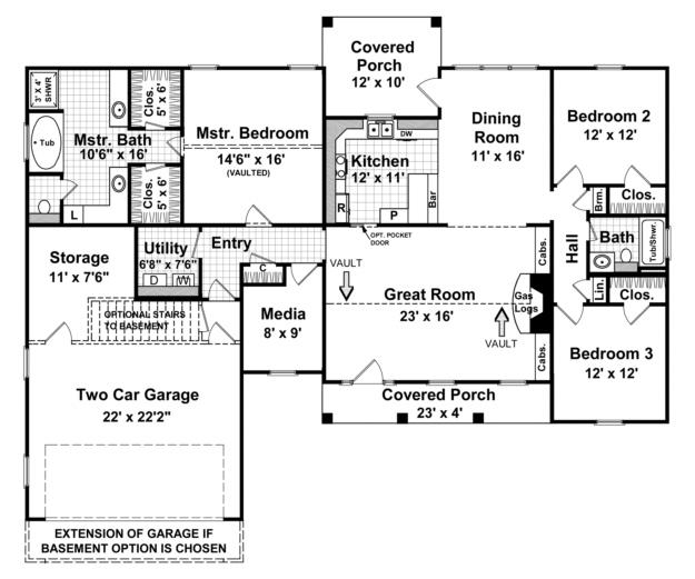 Ranch plan 1 800 square feet 3 bedrooms 2 bathrooms for 1800 square foot house plans one floor