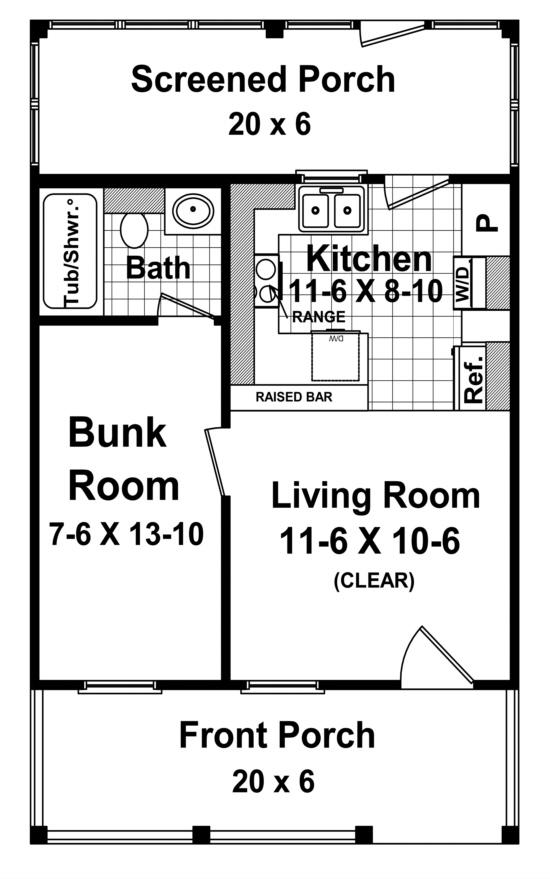 Cottage Plan 400 Square Feet 1 Bedroom 1 Bathroom 348