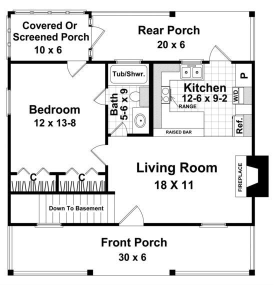 Cottage Plan 600 Square Feet 1 Bedroom 1 Bathroom 348