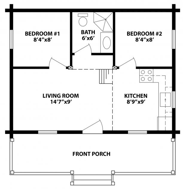 Log plan 744 square feet 2 bedrooms 1 bathroom 154 00001 for Square log cabin plans