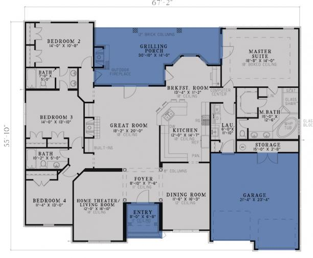 Traditional plan 2 525 square feet 4 bedrooms 3 bathrooms 110 00585 One floor house plans