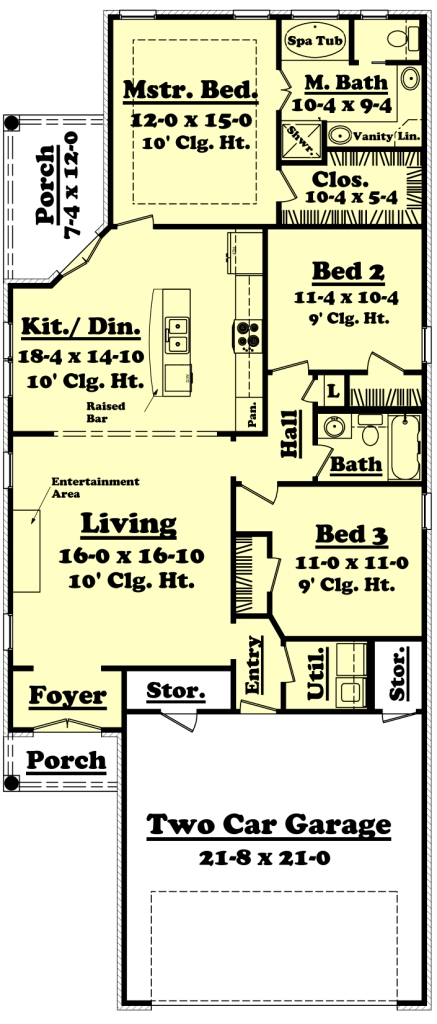 Narrow lot plan 1 400 square feet 3 bedrooms 2 for Narrow house plans with garage underneath