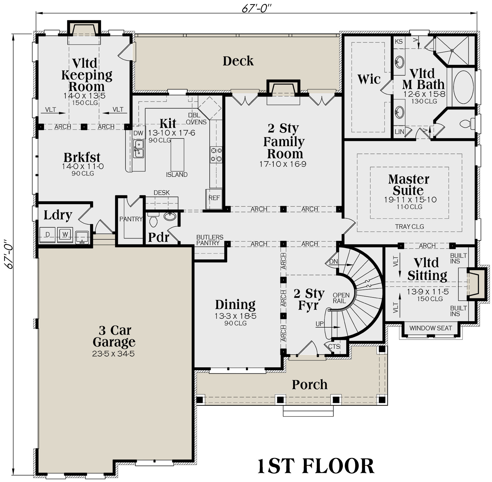 Traditional Plan: 4,139 Square Feet, 5 Bedrooms, 4.5 Bathrooms - 009 ...