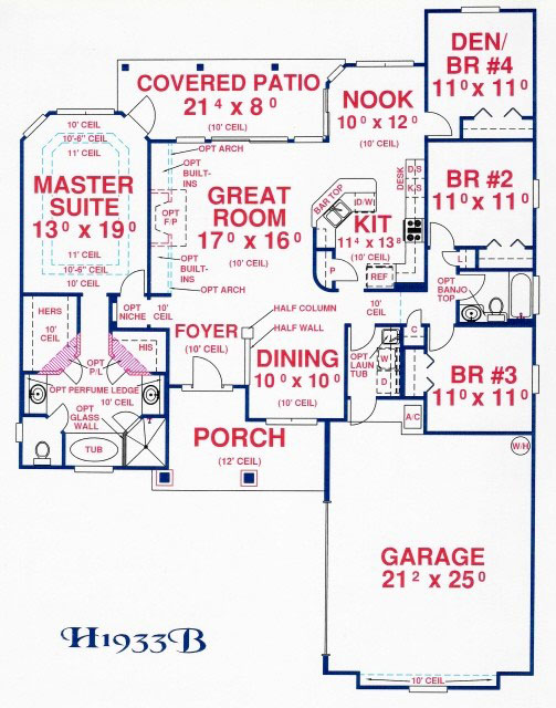 Ranch plan 1 933 square feet 4 bedrooms 2 bathrooms for House floor plans without garage