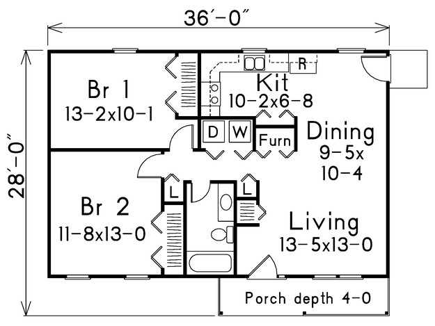 Country plan 864 square feet 2 bedrooms 1 bathroom for Www houseplans net