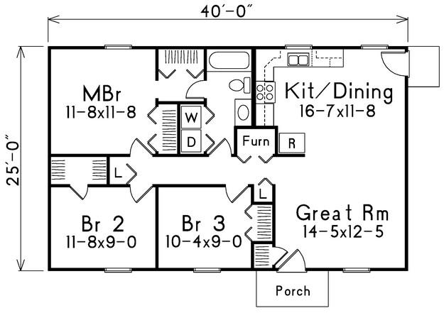 Narrow Lot Plan 1 000 Square Feet 3 Bedrooms 1 Bathroom 5633