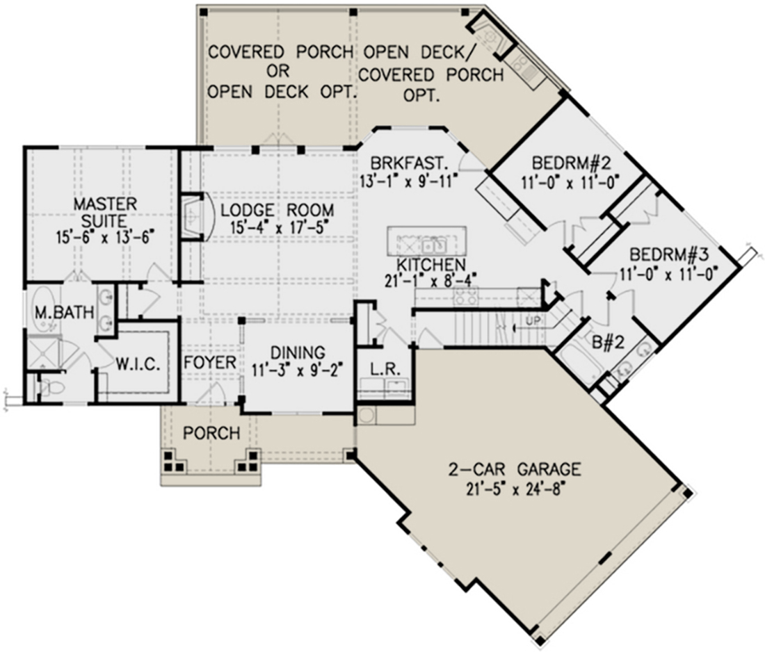 Mountain plan 1 729 square feet 3 bedrooms 2 bathrooms for Lake floor plans