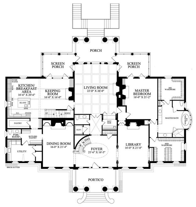 Colonial Plan 10 735 Square Feet 6 Bedrooms 8 Bathrooms