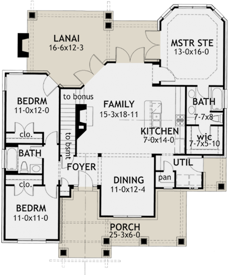 Small Plan: 1,421 Square Feet, 3 Bedrooms, 2 Bathrooms - 9401-00003