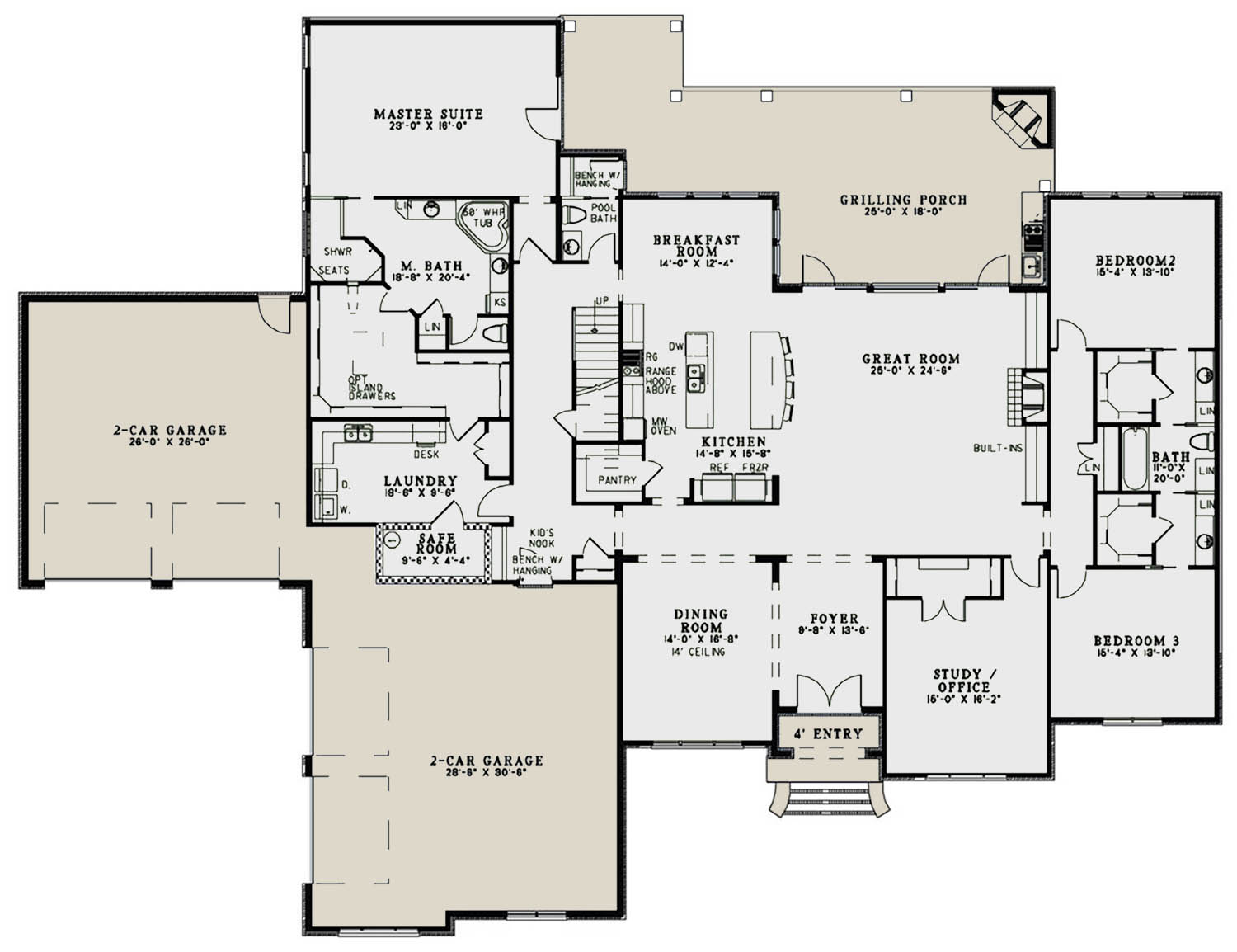 European plan 4 076 square feet 3 bedrooms 3 5 bathrooms 110 00989 Master bedroom and bath square footage