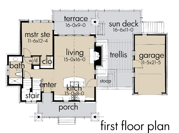 Mountain Plan: 985 Square Feet, 2 Bedrooms, 2 Bathrooms - 9401-00089