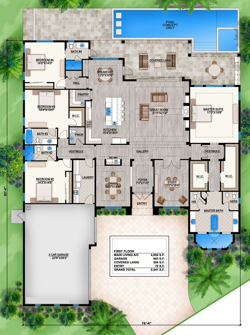 Floorplan 1 for House Plan #5565-00014