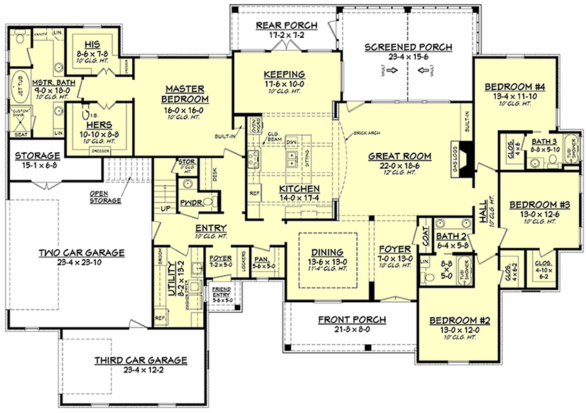 French Country Plan: 3,195 Square Feet, 4 Bedrooms, 3.5