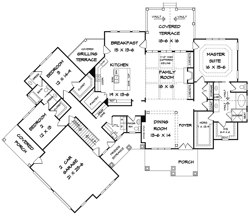 Craftsman Plan 2818 Square Feet 3 Bedrooms 2 5 Bathrooms