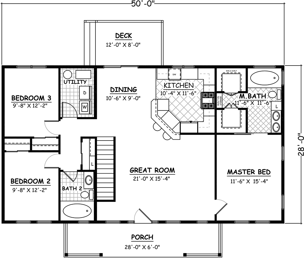 Main Floor Basement Stair Location for House Plan #526-00080